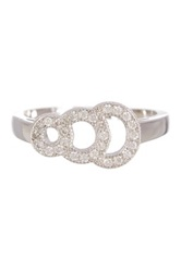18K White Gold Plated Sterling Silver Pave Cz Graduated Circles Ring No Color