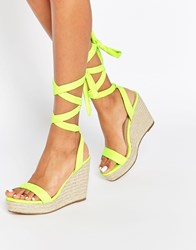 Asos Talent Tie Leg Wedge Sandals Lime Green