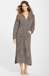 Women's Barefoot Dreams Cozychic Hooded Zip Robe Charcoal