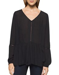 Calvin Klein Jeans Peasant Solid V Neck Blouse Black