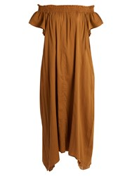 Loup Charmant Hydra Off The Shoulder Cotton Dress Camel