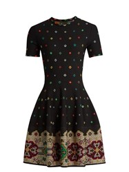 Alexander Mcqueen Cross Stitch Jacquard Knitted Dress Black Multi