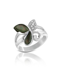 Del Gatto Diamond And Black Mother Of Pearl Butterfly 18K Gold Ring Multicolor