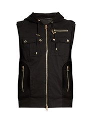 Balmain Panelled Wool Blend Twill Hooded Gilet Black
