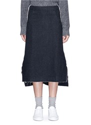 Song For The Mute Raw Edge Cotton Wool A Line Skirt Grey