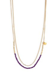 Astley Clarke Biography Amethyst Beaded Double Strand Necklace Gold Amethyst