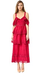 Self Portrait Off Shoulder Ruffle Dress Raspberry Red