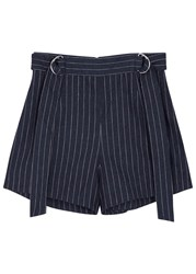 Finders Keepers Dissolve Pinstriped Linen Blend Shorts Navy