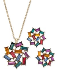 Charter Club Gold Tone Multi Stone Baguette Necklace And Earrings Set Only At Macy's