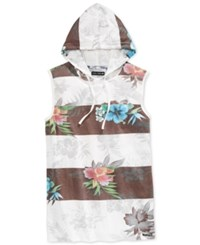 Univibe Men's Shades Floral Print Stripe Hoodie Muscle T Shirt White