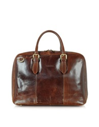 Chiarugi Dark Brown Double Handle Leather Briefcase