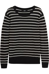 Line Spencer Striped Modal And Cashmere Blend Sweater Black