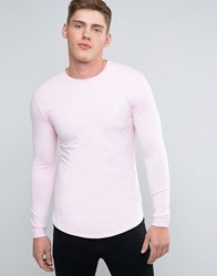 Gym King Long Sleeve Logo Tee In Muscle Fit Pink