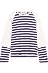 Comme Des Garcons Layered Striped Cotton Jersey Top White