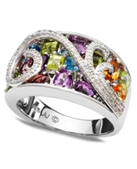 Town And Country Sterling Silver Ring Diamond 1 8 Ct. T.W. And Multistone Swirl Ring