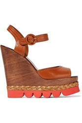 Dolce And Gabbana Leather And Wood Wedge Sandals Brown