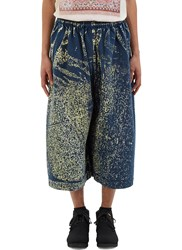 Anntian Oversized Hand Painted Dropped Crotch Pants Blue