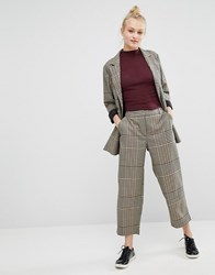 Monki Wide Cropped Trouser Brown Check