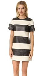 Marc Jacobs Leather Stripe Dress Black Ivory