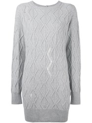 Stella Mccartney Distressed Cable Knit Jumper Grey