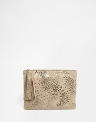 Becksondergaard Becksondergaard Leather Zip Top Clutch Bag In Star Print Taupestar