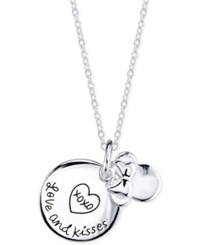 Disney Minnie Mouse 'Love And Kisses' Charm Pendant Necklace In Sterling Silver