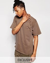 Reclaimed Vintage Oversized T Shirt With Distressing Brown