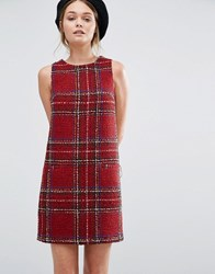 New Look Tartan Boucle Shift Dress Red Pattern