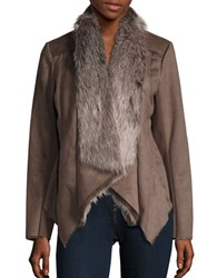 Bcbgeneration Faux Fur Accented Faux Suede Coat Taupe