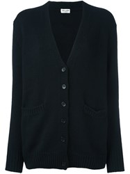 Saint Laurent V Neck Cardigan Black