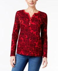 Karen Scott Printed Henley Top Only At Macy's New Red Amore