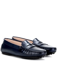 Tod's Leather Loafers Blue