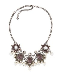 Lydell Nyc Mixed Crystal And Simulated Pearl Statement Bib Necklace Multi