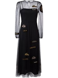 Red Valentino Embroidered Tulle Flared Dress Blue