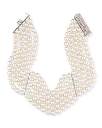 Assael 18K Five Strand Akoya Pearl Choker Necklace With Diamonds