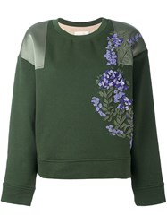 Ssheena Floral Applique Sweatshirt Green