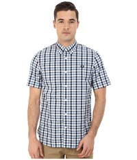 Fred Perry Herringbone Gingham Shirt Glacier Men's Clothing Blue