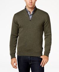 Barbour Men's Becket Quarter Zip Sweater Olive