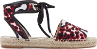 Stella Mccartney Red And Black Animal Canvas Espadrilles