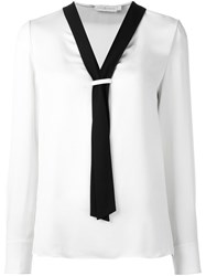 Tory Burch Contrast Scarf Collar Blouse White