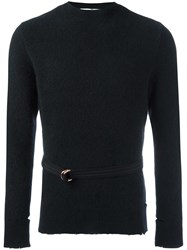 Givenchy Distressed Crew Neck Sweater Black