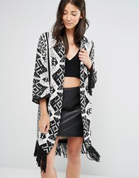 Glamorous Knitted Pattern Cardigan With Tassel Hem Cream Black Multi