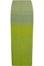 Missoni Metallic Crochet Knit Maxi Skirt Green