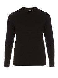 Jil Sander Long Sleeved Cotton T Shirt Black