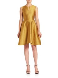 Josie Natori Metallic Fit And Flare Dress Gold