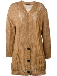 Roberto Collina Cable Knit Cardigan Nude And Neutrals
