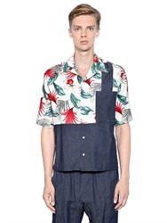 Antonio Marras Patchwork Cotton Vichy And Linen Shirt