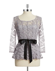 Chetta B Belted Lace Top Silver