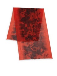 Z Zegna Printed Wool Silk Scarf Red Multi