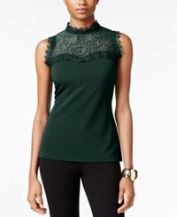 Thalia Sodi Mock Neck Lace Illusion Top Only At Macy's Dark Forest